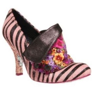 Irregular Choice Pink Zebra Print Flick Flack Pump